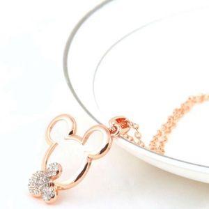 Jewelry - Mickey rose gold plated rhinestone necklace